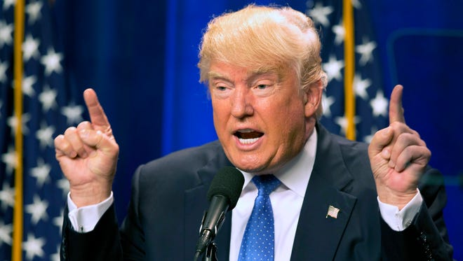 Donald Trump speaks at Saint Anselm College Monday, June 13, 2016, in Manchester, N.H.