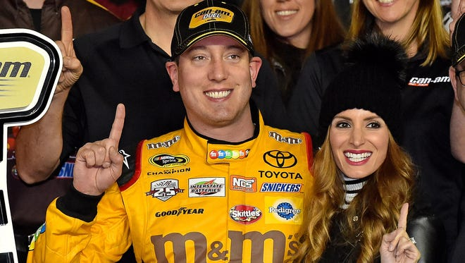 Kyle Busch and his wife Samantha, shown in February.