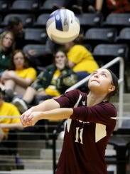 Bronte's Elexia Davis led her team with 21 digs against Blum in the state championship match.