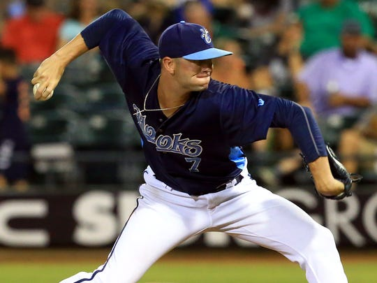 Hooks' Jacob Dorris pitches against Frisco on Saturday, June 24, 2017, at Whataburger Field in Corpus Christi.