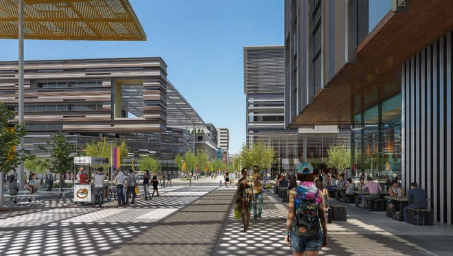 A rendering released on June 7, 2017, shows a planned pedestrian promenade to connect the Novus Innovation Center with existing venues at Arizona State University.