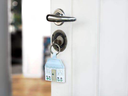 front door unlocked with key