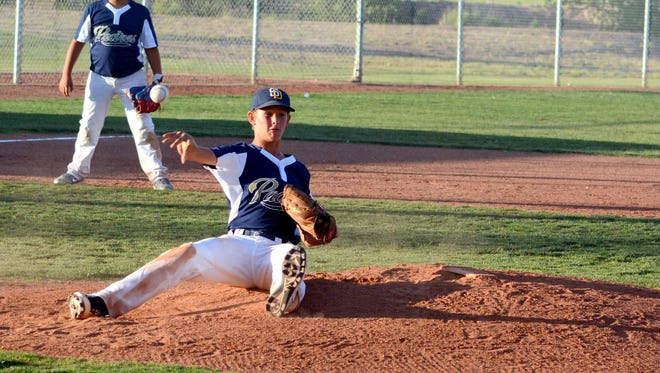 Jaret Griffin of the Padres throws out a runner at first base after catching a line drive against the Phillies Wednesday at Bob Forrest Youth Sports Complex.