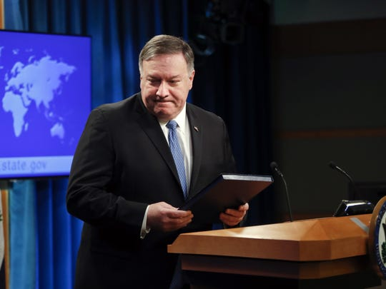 Secretary of State Mike Pompeo walks away from the podium after speaking at a news conference at the State Department in Washington, Wednesday, April 17, 2019. The Trump administration announced that it's allowing lawsuits against foreign companies operating in properties seized from Americans in Cuba, a major policy shift that has angered European and other allies.(AP Photo/Pablo Martinez Monsivais)