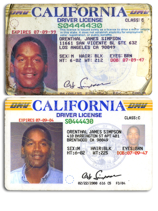 O.J. Simpson driver's licenses
