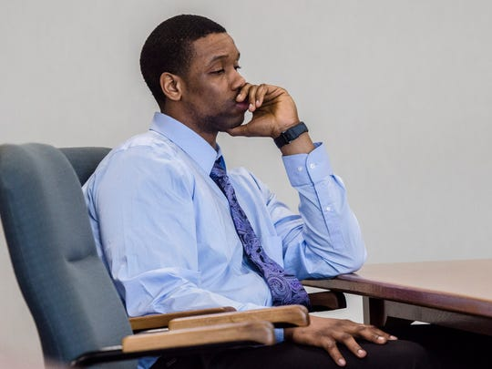 Chavis Murphy listens to his attorney Lamar Enzor tell the jury that no one saw Murphy shoot and kill 28-year-old Obafemi Adedapo in December of 2015 on Church Street. The closing statement was made just before the jury started deliberations in Vermont Superior Court in Friday, Feb. 9, 2018, to decide whether or not Murphy is guilty of murder.
