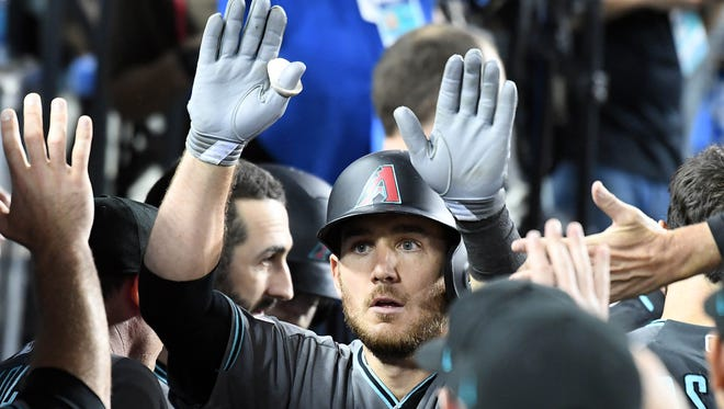 October 6, 2017: Arizona Diamondbacks catcher Jeff Mathis (2) celebrates after hitting a solo home run in the seventh inning against the Los Angeles Dodgers in game one of the 2017 NLDS at Dodger Stadium.