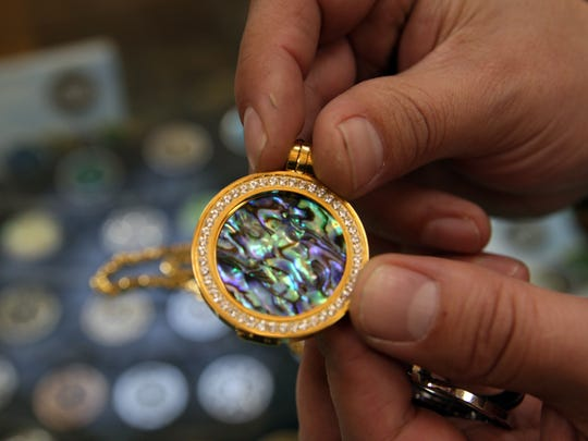 The abalone version of a Carlo Biagi coin pendant
