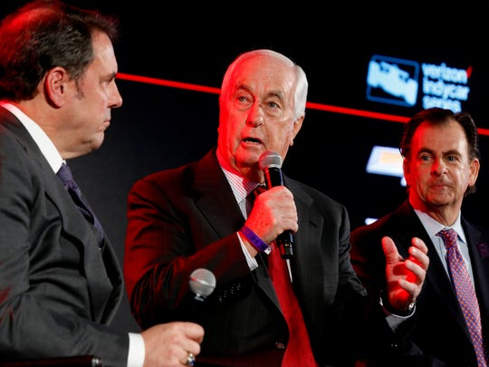 Roger Penske, Team Penske owner and founder/chairman of Penske Corporation talks during a panel discussion about the 2018 IndyCar during the North American International Auto Show at Cobo Center in Detroit on Tuesday, Jan. 16, 2018.