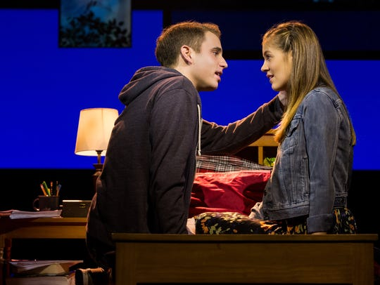 "Ben Platt and Laura Dreyfuss share a moment in ""Dear"
