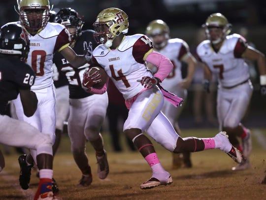 Florida High's Kevin Sawyer Jr. runs the ball against