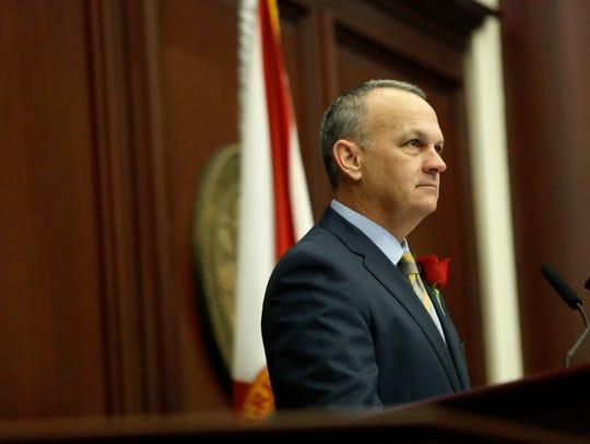 House Speaker Richard Corcoran (R-Land O' Lakes) addresses