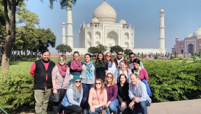 Bethany Lerch and a group of professional counseling peers from the University of Wisconsin-Oshkosh are pictured in front of the Taj Mahal in India in January.