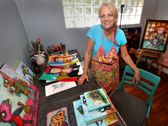 Dawna Magliacano is surrounded by a variety of her works of art in her local studio. She will be a featured exhibitor at The White Oak Craft Fair in Woodbury, set for Sept. 12-13.