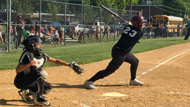 Verona's Amber Reed (23) went 1-for-2 with two walks in her first game action since May 30, 2017 following a torn ACL injury.