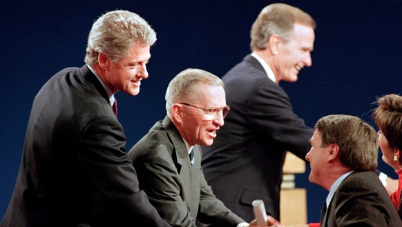 Bill Clinton, Ross Perot and George H.W. Bush shake
