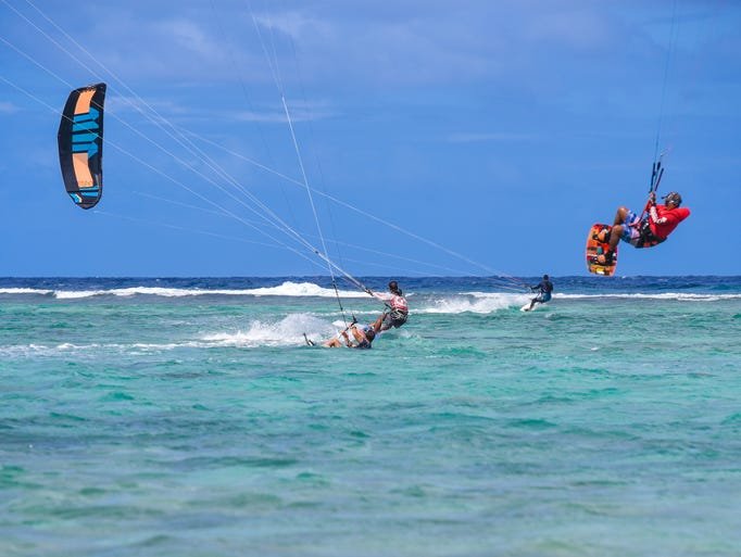 Kiteboarders take advantage of the steady offshore