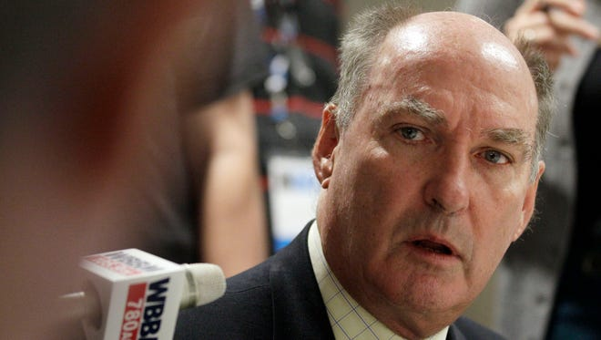 Big Ten commissioner Jim Delany talks with reporters Oct. 25, 2012.