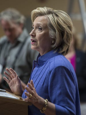 Democratic presidential candidate and former Secretary of State, Hillary Clinton, addresses the media Aug. 10 following a town hall meeting in Exeter, New Hampshire.