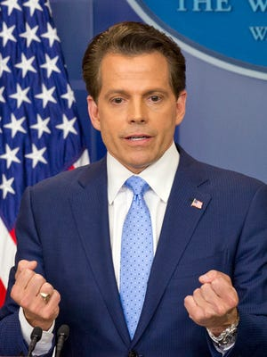 Incoming White House communications director Anthony Scaramucci answers questions amid his first news briefing during his first day on the job in the Brady Press Briefing Room of the White House in Washington, D.C., on Friday, July 21, 2017. (Ron Sachs/CNP/Sipa USA/TNS)