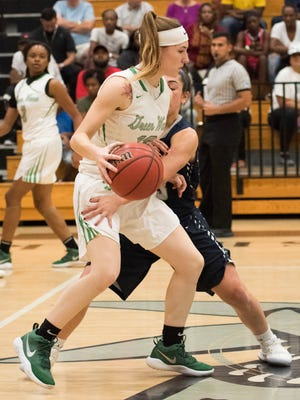 Tatum Hays of Fort Myers High drives down the court during the game against Council Rock North at the Naples Holiday Shootout at Gulf Coast High School Thursday, Dec. 28, 2017.