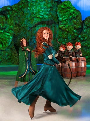 """Merida from """"Brave"""" takes to the ice for the first time in """"Disney on Ice: Rockin' Ever After,"""" opening Thursday at the Pensacola Bay Center."""