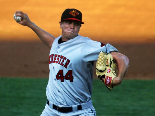 FILE – Former Greenfield-Central star Kyle Gibson pitches against the Indianapolis Indians at Victory Field on July 22, 2011.