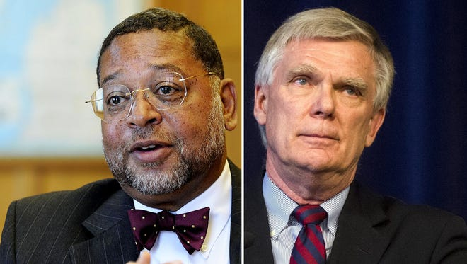 Robert Young, left, is Michigan State's vice president and general counsel. Special prosecutor William Forsyth, right, wrote that his investigation is being impeded by the university.