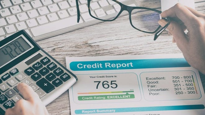 credit report showing score of 765