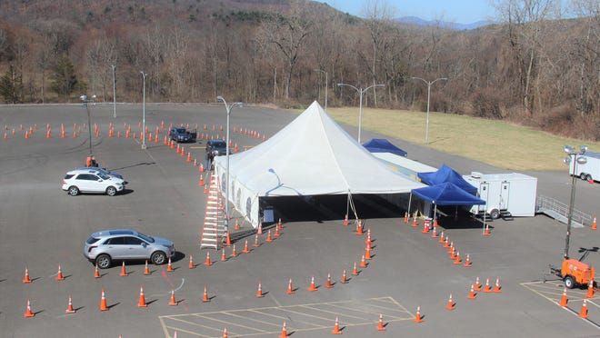 Ulster County's mobile testing site at Tech City, Kingston.