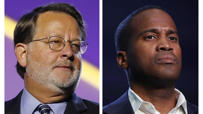 In this combination of 2018 and 2019 file photos are from left, Democratic U.S. Sen. Gary Peters, D-Mich., and Republican U.S. Senate candidate John James. A recent Detroit Free Press poll shows Peters with a 5 percentage-point lead over James heading into