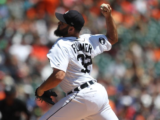 Tigers pitcher Michael Fulmer throws during the second inning of the Tigers' 11-4 loss Thursday at Comerica Park.