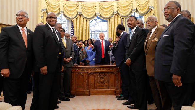 President Trump meets with leaders of historically black colleges and universities in the Oval Office on Feb. 27, 2017.