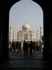 The Taj Mahal, an ivory-white marble mausoleum, was built in the 1600s in Agra, India.
