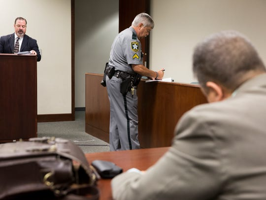Those alleged of committing a felony appear during a brief felony arraignment hearing in Hearing Room 3-4 at the Collier County Courthouse Monday, May 15, 2017 in Naples.