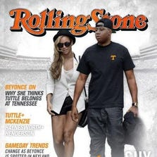 Photoshopped Rolling Stone cover featuring Beyonce and a highly recruited football player, encouraging him to come to Tennessee