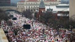 A crowd fills Independence Avenue during the Women's