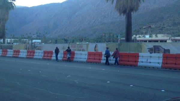 Pedestrians walking along Palm Canyon.