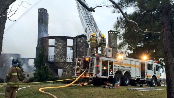 Firefighters responded to a blaze at the Annapolis, Md., home of  tech CEO Don Pyle and his wife, Sandy, on Jan. 19, 2015.