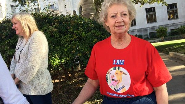 Doris Campbell took off her jacket to show her support for Braveheart outside the courthouse once the trial ended.