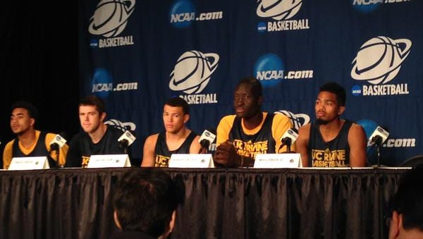 UC-Irvine players meet with the media on Thursday in Seattle ahead of Friday's NCAA tournament game against Louisville.