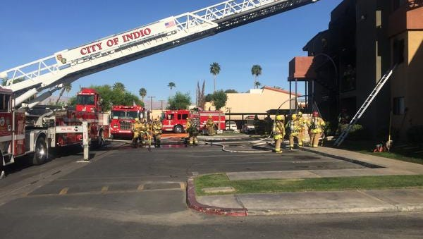 A fire was reported at an Indio apartment complex.