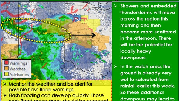 Flash flood warnings have been issued in central Ohio.
