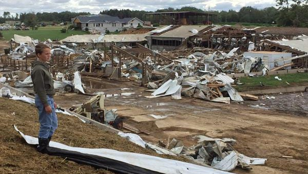 The DeVor Dairy Farm in Decker suffered a huge amount of damage during storms on Monday, June 22.