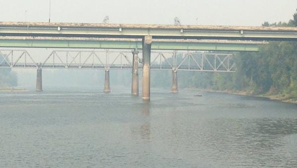 Smoke lingers in the air in Salem on Saturday.