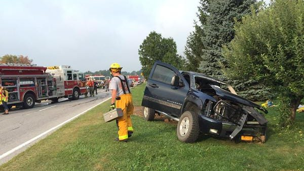 Three people were injured in a two-car head-on crash on Buffalo Road in Bergen about 7:30 a.m. Tuesday.