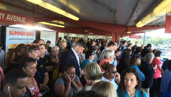 Passengers crowd the Ferry Avenue station of the PATCO Hi-Speedline. Free wireless access will finally be available for riders on the PATCO Hi-Speedline at all stations next month, and some cellphone service is expected in tunnels soon afterward.