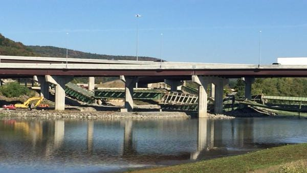 The cleanup began soon after the bridge was demolished.
