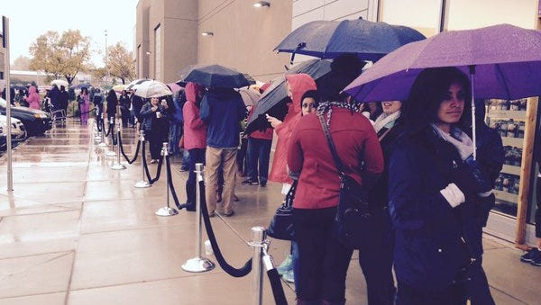 Crowds brave the rain for Nordstrom Rack opening in Fort Collins this morning.