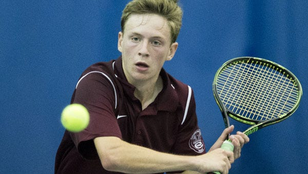 Sam Concannon, the eventual winner from Culver Academies, IHSAA Boys Individual Tennis State Finals, from Five Seasons, Indianapolis, Saturday, Oct. 24, 2015.